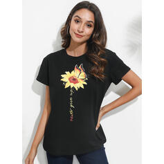 Animal Print Sunflower Print Round Neck Short Sleeves Casual T-shirts
