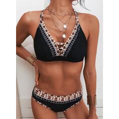 Nadruk Pasek Dekolt w kształcie litery V Boho Bikini Stroje kąpielowe