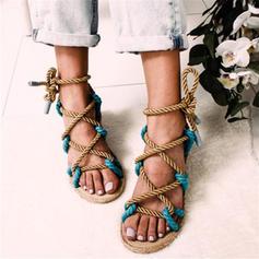 Donna PU Senza tacco Sandalo Ballerine Punta aperta con Allacciato scarpe