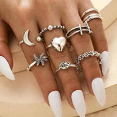 Vintage Boho Alloy With Moon Heart Eye Starfish Rings (Set of 10)
