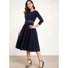 Einfarbig 3/4 Ärmel A-Linien Knielang Freizeit/Elegant Kleider