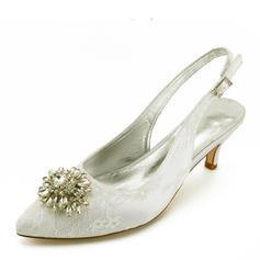 Femmes Similicuir Talon bas Bout fermé Chaussures plates avec Couture dentelle Talon cristal Cristal