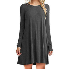 Solid Long Sleeves Shift Mini Casual Dresses