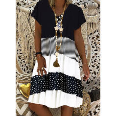 Color Block/PolkaDot/Striped Short Sleeves Shift Knee Length Casual T-shirt Dresses