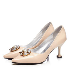 Women's Leatherette Stiletto Heel Pumps Closed Toe With Imitation Pearl shoes