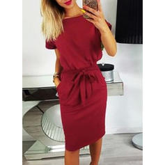 Solid Short Sleeves Bodycon Knee Length Casual/Elegant Pencil Dresses