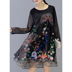 Long Sleeves Shift Knee Length Casual Dresses