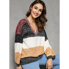 Color Block Ribbed V-Neck Casual Sweaters