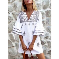 印刷 3/4袖/フレアスリーブ シフトドレス 膝上 カジュアル/休暇 チュニック ドレス