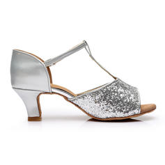 De mujer Danza latina Tacones Sandalias Brillo Chispeante con Tira T Danza latina
