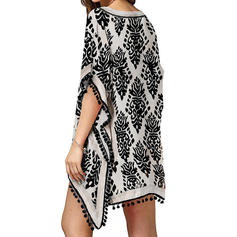Leaves Print V-Neck Bohemian Cover-ups Swimsuits
