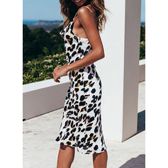 Animal Print Sleeveless Sheath Knee Length Casual/Vacation Dresses