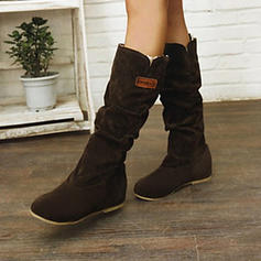 Women's PU Flat Heel Mid-Calf Boots Snow Boots With Stitching Lace Split Joint shoes