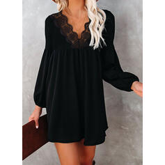 Lace/Solid Long Sleeves/Lantern Sleeve Shift Above Knee Little Black/Elegant Tunic Dresses