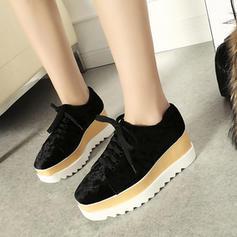 Frauen Veloursleder Keil Absatz Keile mit Zuschnüren Schuhe