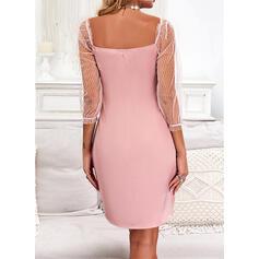 Solid 3/4 Sleeves Sheath Above Knee Elegant Dresses