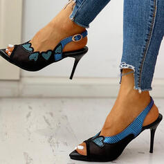 Women's PU Stiletto Heel Pumps With Sequin Buckle Hollow-out shoes