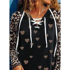 leopardo Con Cappuccio Maniche lunghe Casuale Camicie