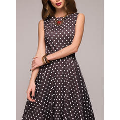 PolkaDot Sleeveless A-line Knee Length Vintage/Casual/Elegant Dresses