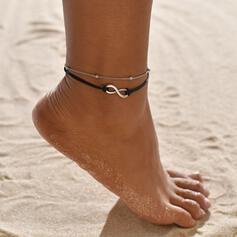 Simples Infinidade Liga Corda de couro Jóias De Praia Tornozeleiras (Conjunto de 2)