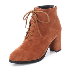 Kvinner Semsket Stiletto Hæl Ankelstøvler med Blondér sko