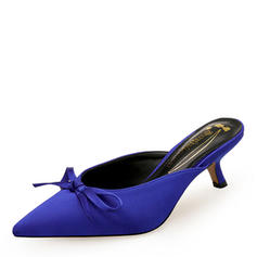 Women's Silk Like Satin Kitten Heel Pumps Closed Toe Slingbacks With Bowknot shoes