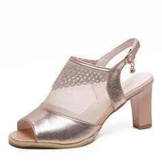 De mujer Malla PU Tacón ancho Sandalias Encaje con Rhinestone Hebilla zapatos