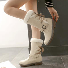 Women's PU Low Heel Chunky Heel Mid-Calf Boots Snow Boots With Buckle Lace-up shoes