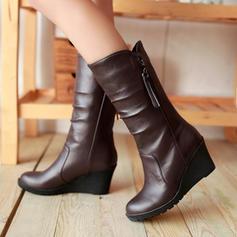 ПУ Танкетка Чоботи середньої довжини Снігові чоботи з Сюрпризи Блискавка взуття