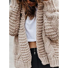 Solid Cable-knit Chunky knit Hooded Casual Cardigan