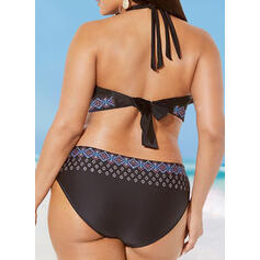Print Halter Plus Size Bikinis Swimsuits