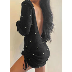 Solid Long Sleeves Bodycon Above Knee Little Black/Sexy/Casual Sweater Dresses