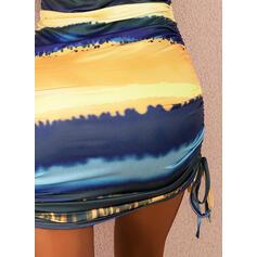 Tie Dye Sleeveless Bodycon Above Knee Casual/Vacation Tank Dresses