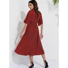 PolkaDot 1/2 Sleeves A-line Skater Casual/Elegant Midi Dresses
