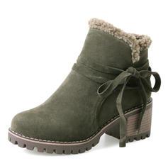 Dla kobiet Zamsz Obcas Slupek Czólenka Kozaki Botki Buty zimowe Z Sznurowanie obuwie