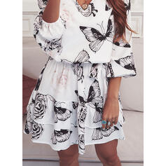 Floral/Animal Print 3/4 Sleeves Sheath Above Knee Casual Dresses