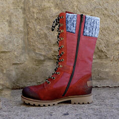 Femmes PU Talon bas Bottes mi-mollets Martin bottes avec Zip Dentelle chaussures