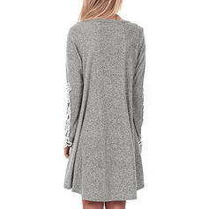 Solid Long Sleeves Shift Knee Length Dresses
