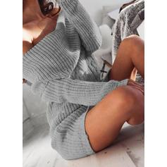 Μονόχρωμο Χονδροειδής Πλέξη Εκτός Ώμου Φόρεμα Πουλόβερ