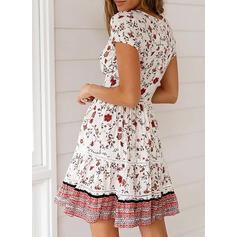 Nadrukowana/Kwiatowy Krótkie rękawy W kształcie litery A Nad kolana Casual/Boho/Wakacyjna Sukienki