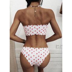 Dot Drawstring Off the Shoulder Cute Bikinis Swimsuits