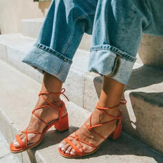 Kvinder Microfiber Læder Stor Hæl sandaler med Blondér sko