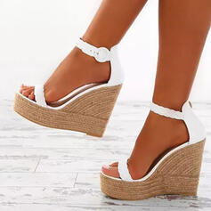 Mulheres Couro Plataforma Sandálias Peep toe com Fivela sapatos