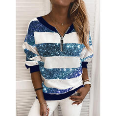 Pailletten V-Ausschnitt Lange Ärmel Pullover