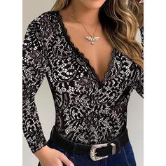 кружевной V шеи Длинные рукова Повседневная Блузы