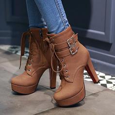 Femmes PU Talon bottier Escarpins Plateforme Bottes avec Boucle Zip Dentelle chaussures