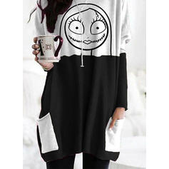 Print Color Block Halloween Round Neck Long Sleeves Sweatshirt