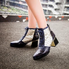 Women's Leatherette Chunky Heel Pumps Boots Mid-Calf Boots With Lace-up Split Joint shoes