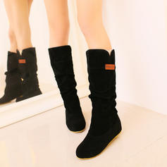 Women's Suede Flat Heel Flats Closed Toe Boots Mid-Calf Boots With Ruffles shoes