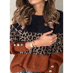 Blok Koloru lampart Okrągły dekolt Nieformalny Swetry